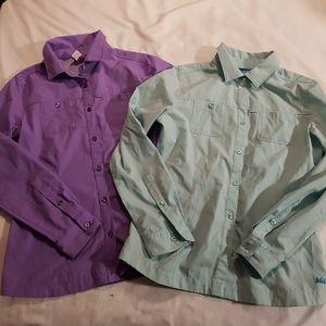 2 EUC REI girls 14/16 shirts purple & teal